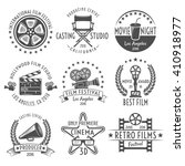 movies black white emblems set...