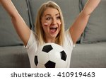 polish fan cheers football team ... | Shutterstock . vector #410919463