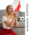 polish fan cheers football team ... | Shutterstock . vector #410919553
