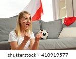 polish fan cheers football team ... | Shutterstock . vector #410919577