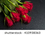 Detail Of Fresh Red Roses With...