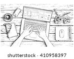hand drawn sketch of work place ... | Shutterstock .eps vector #410958397