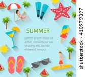 flat summer holidays  beach... | Shutterstock .eps vector #410979397