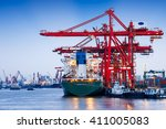 industrial container freight...   Shutterstock . vector #411005083