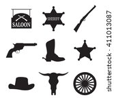 set of isolated black icons on...   Shutterstock .eps vector #411013087