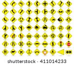 doodle traffic signs  vector...