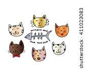 cute cartoon doodle cats   Shutterstock .eps vector #411023083