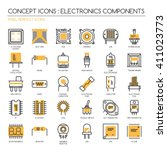 electronic components   thin... | Shutterstock .eps vector #411023773