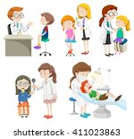 doctors giving treatment to... | Shutterstock .eps vector #411023863