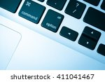 keyboard close up in blue tone | Shutterstock . vector #411041467