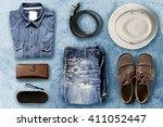 overhead view men casual... | Shutterstock . vector #411052447