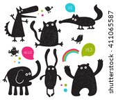 collection of cartoon funny... | Shutterstock .eps vector #411065587