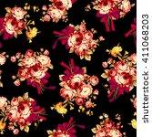 rose flower pattern  | Shutterstock .eps vector #411068203