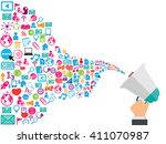 megaphone and cloud technology... | Shutterstock .eps vector #411070987