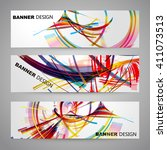 set of colorful flyer  brochure ... | Shutterstock .eps vector #411073513