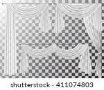set of transparent curtains...   Shutterstock .eps vector #411074803