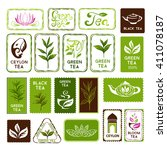 green and black tea stamps and... | Shutterstock .eps vector #411078187
