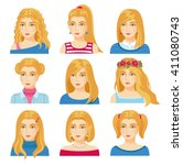 set of woman faces with various ...