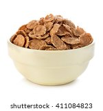 bowl with grain cereal flakes... | Shutterstock . vector #411084823