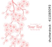 vector white cherry blossoms ... | Shutterstock .eps vector #411085093