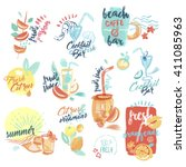 set of hand drawn watercolor... | Shutterstock .eps vector #411085963