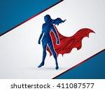 superhero woman standing using... | Shutterstock .eps vector #411087577