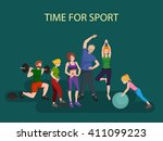 active people in gymnastics and ... | Shutterstock .eps vector #411099223