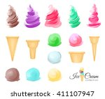 ice cream scoops and waffle... | Shutterstock . vector #411107947