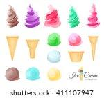 set of cartoon ice cream scoops ... | Shutterstock . vector #411107947