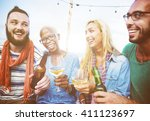 diverse summer beach party roof ... | Shutterstock . vector #411123697