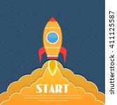 yellow rocket in space  rocket...   Shutterstock .eps vector #411125587
