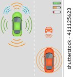 electric re charging lane... | Shutterstock .eps vector #411125623
