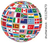 sphere with world flags... | Shutterstock . vector #411129673