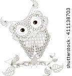 zentangle stylized owl black... | Shutterstock .eps vector #411138703