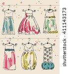 vector fashionable beautiful... | Shutterstock .eps vector #411143173