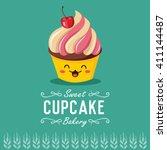 fun cartoon cupcake. bakery and ... | Shutterstock .eps vector #411144487