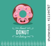 fun cartoon donut. bakery and... | Shutterstock .eps vector #411144787