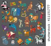 cartoon doodle animals big set | Shutterstock . vector #411151777