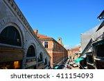old balconies in a venice... | Shutterstock . vector #411154093