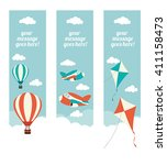 a set of web banners with kites ... | Shutterstock .eps vector #411158473