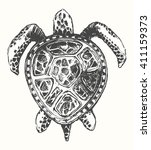 hand drawn turtle illustration  ... | Shutterstock .eps vector #411159373