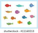cute fish vector illustration... | Shutterstock .eps vector #411160213