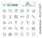 set vector line icons in flat... | Shutterstock .eps vector #411171547