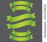 green ribbon vector set for... | Shutterstock .eps vector #411176413