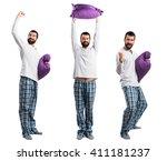 lucky man in pajamas | Shutterstock . vector #411181237