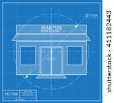 shop icon. blueprint style | Shutterstock .eps vector #411182443
