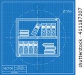 office shelf icon. blueprint... | Shutterstock .eps vector #411187207