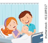 maternity ward. happy father... | Shutterstock .eps vector #411189217