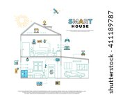 smart house technology system... | Shutterstock .eps vector #411189787