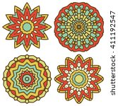 set of mandalas. vector ethnic... | Shutterstock .eps vector #411192547